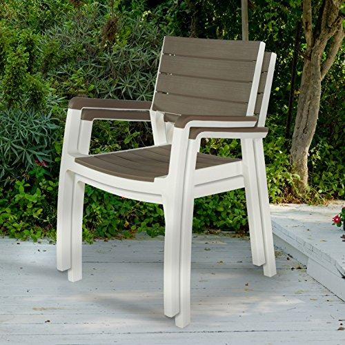 Keter Harmony Indooroutdoor Patio Furniture Armchair Set Modern Wood Style Finish 2 Pack
