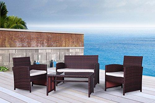 The Bora-bora Collection - 4 Pc Outdoor Rattan Wicker Sofa Patio Furniture Set Choice Of Setamp Cushion Color