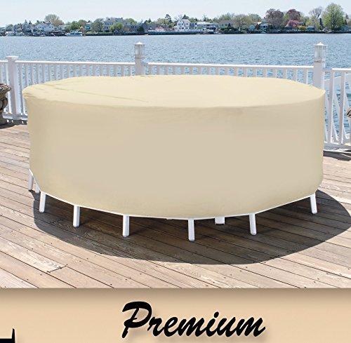 Patio Essentials Premium Heavy Duty Round Patio Table Chair Set Cover - 84 Diameter