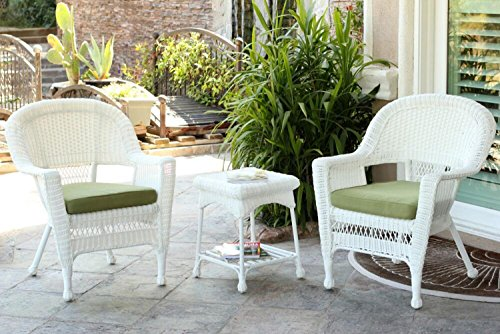 3-Piece White Resin Wicker Patio Chairs and End Table Furniture Set - Green Cushions