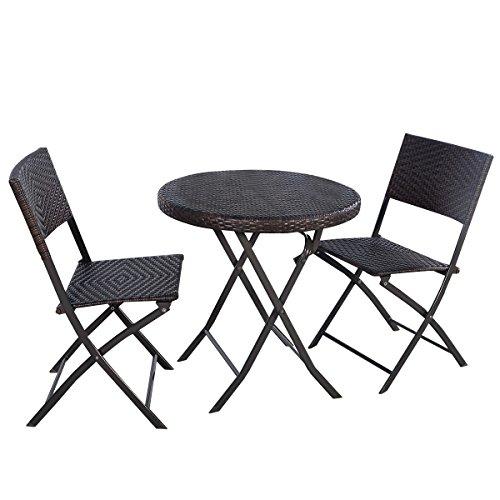 Giantex 3pc Folding Round Tableamp Chair Bistro Set Rattan Wicker Outdoor Furniture