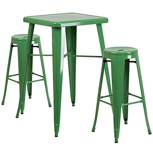 Indoor-Outdoor Table Set Backless Green