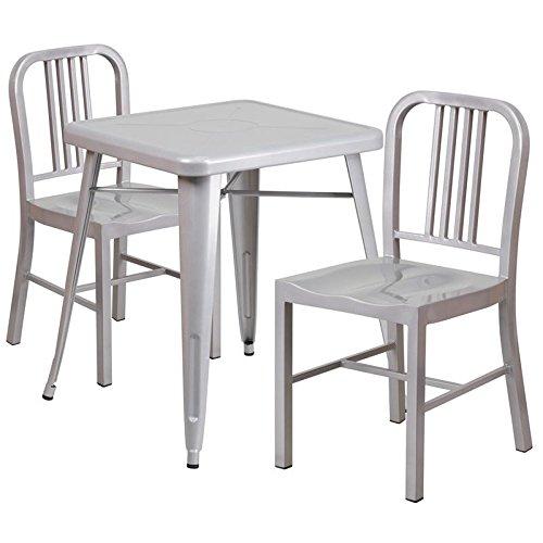 Indoor-Outdoor Table Set Silver