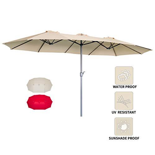 AECOJOY 15x9FT Outdoor Patio Umbrella Double-Sided Market Umbrella Large Sunbrella Table Umbrellas with Crank Air Vents for Deck Pool Patio Beige