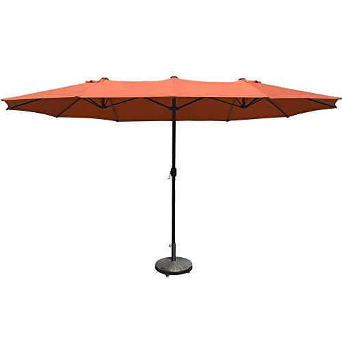 COBANA 15 ft Market Outdoor Umbrella Extra Large Double-Sided Aluminum Table Patio Umbrella with Crank Brick Orange