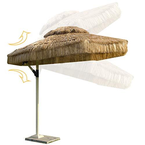 Eanpet Grand Patio Umbrella Thatch Luau Hawaiian Tropic Decoration Outdoor Beach Umbrella Large Canopy Sun Shelter Adjustable Umbrella Stand Classic 8