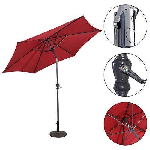 HAPPYGRILL 10ft Large Patio Umbrella Sun Umbrella Table Umbrella with Adjustable Tilt Crank for Outdoor Backyard Pool Burgundy