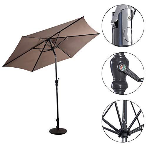 HAPPYGRILL 10ft Large Patio Umbrella Sun Umbrella Table Umbrella with Adjustable Tilt Crank for Outdoor Backyard Pool Tan