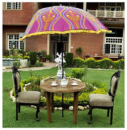 Indian Hand Embroidery Flower Design Outdoor Garden Umbrella Patio Cotton Sun Large Parasol
