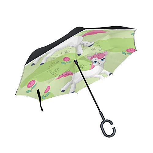 Outdoor Umbrella for Car with C-Shaped Handle Windproof Large Patio Umbrella Reverse Umbrella Cartoon Unicorn Rose
