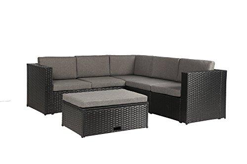 Baner Garden k35 4 Pieces Outdoor Furniture Complete Patio Wicker Rattan Garden Corner Sofa Couch Set Full