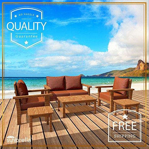 Mafrelia 6 Piece Teak Patio Furniture Set - Luxurious Outdoor Garden Conversation Collection With Sunbrella Cushions