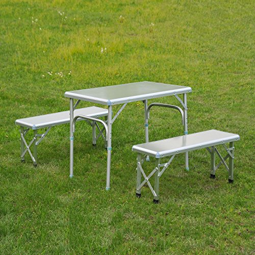 Outsunny 3 Portable Outdoor Picnic Table with Folding Bench Seats