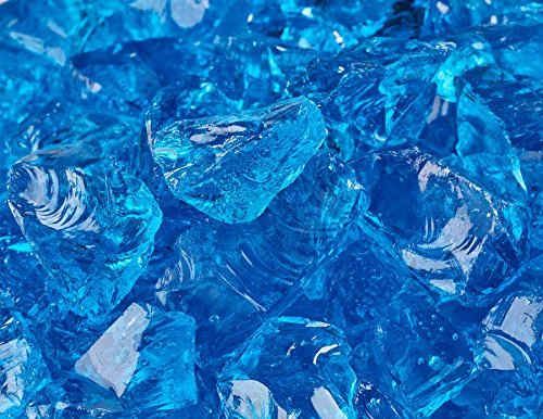 12&quot - 34&quot Crushed Fire Glass For Indoor Or Outdoor Fire Pit Or Fireplace 10 Pounds bermuda Blue