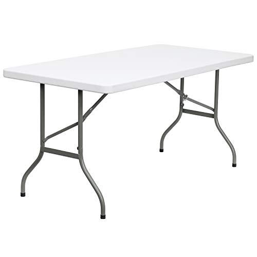 Flash Furniture 30W x 60L Granite White Plastic Folding Table  GrayWhite -