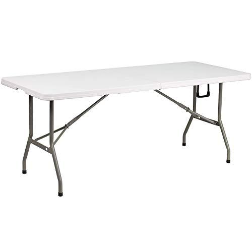 Flash Furniture 30W x 72L Bi-Fold Granite White Plastic Folding Table - DAD-YCZ-183Z-GG Renewed