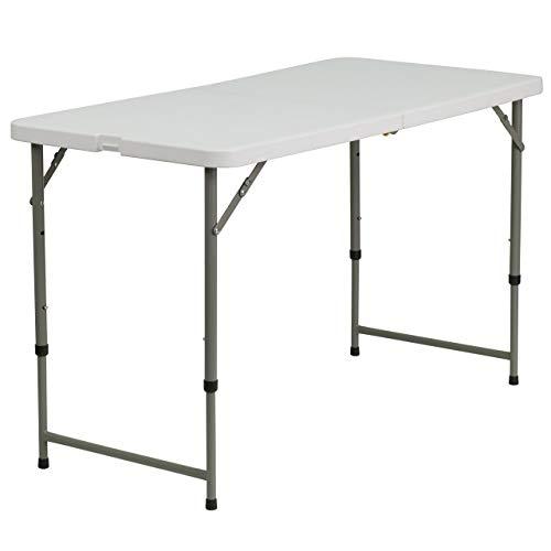 Flash Furniture Plastic Folding Table 24 W x 48 L Height Adjustable Renewed