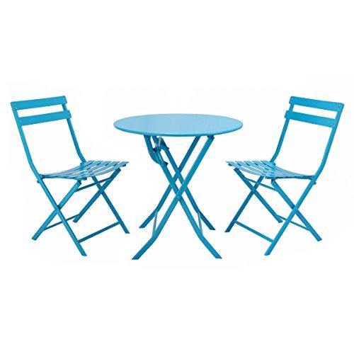Giantex 3 Piece Table Chair Set Foldable Outdoor Patio Garden Pool Metal Furniture Blue