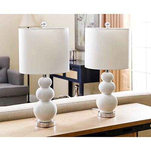 ABBYSON LIVING Camden Gourd White Table Lamp Set of 2