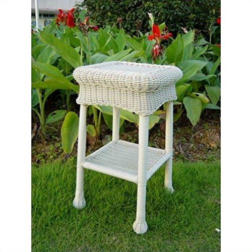 Wicker Resinsteel Patio Side Table white