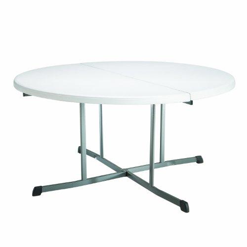 Lifetime 25402 Commercial Round Fold In Half Table 5 Feet  White Granite