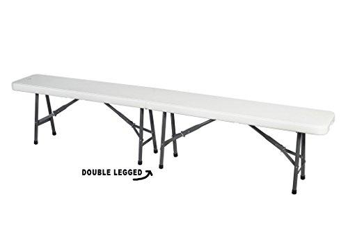 Ontario Furniture- White Plastic Portable Folding Bench for IndoorOutdoor Garden Picnic party 7