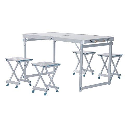 Outsunny 4 Portable Folding Outdoor Picnic Table W 4 Seats - Silver