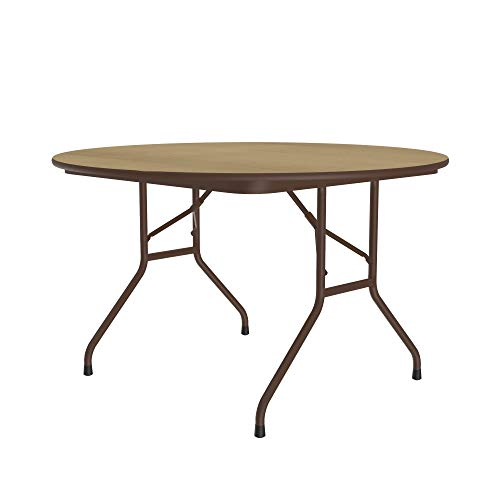 Correll 48 Round Commercial Folding Table Fusion Maple HP Laminate Top Heavy 34 Core Made in USA Steel Apron Made in The USA CF48PX-16