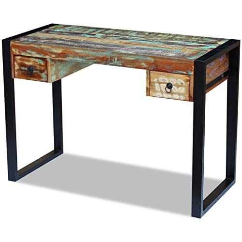 yorten Reclaimed Wood Console Table Office Computer Desk with 2 Drawers Study Table 433 x 197 x 303 Multicolor
