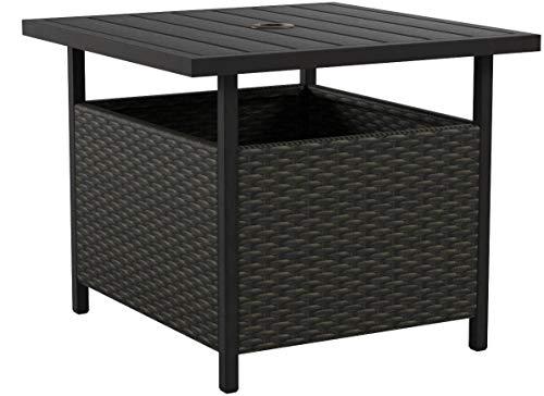 Iwicker Patio PE Wicker Umbrella Side Table Stand Outdoor Bistro Table With Umbrella Hole