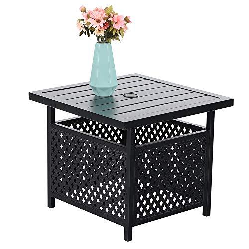 PHI VILLA 22 x 22  Outdoor Umbrella Side Table Stand Patio Bistro Table with Umbrella Hole
