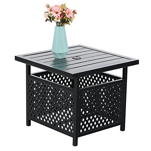 PHI VILLA Outdoor Patio Umbrella Side Table Base Stand with 157 Umbrella Hole for GardenPool Deck - Black