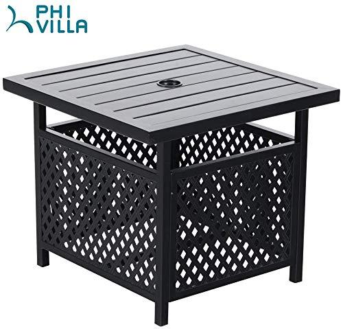 PHI VILLA Patio Umbrella Side Table 22x22 Square Bistro Table for Outdoor Garden Pool with 157 Umbrella Hole