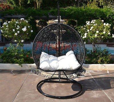 Egg Nest Shaped Wicker Rattan Swing Chair Hanging Hammock 2 Persons Seater - Black  Khaki