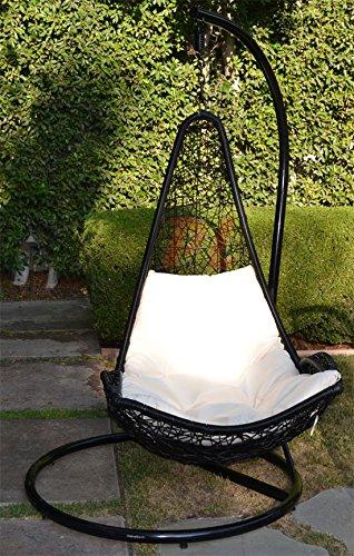 Egg Shape Wicker Rattan Swing Bed Chair Weaving Hanging Hammock- Black  Khaki