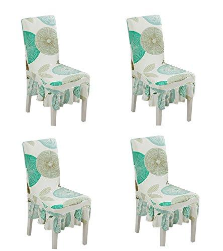 Deisy Dee Print Pattern Ruffled Long Skirt Dining Chair Slipcovers Pack of 4 C028 Circle