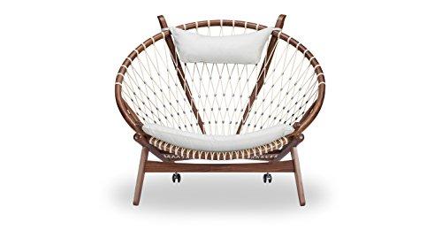Kardiel Circle Hoop Modern Lounge Chair Genuine Italian Leather and Walnut White