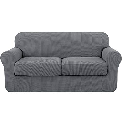 subrtex High Stretch Jacquard Loveseat Slipcover with 2 Separate Cushion Common Couch Sofa Cover Coat for 2-Seater Conventional Settee Spandex Washable Furniture Protector Medium Light Gray