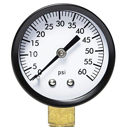 Pool Filter Pressure Gauge - Premium Spa  Pool  Aquarium Water Pressure Gauge by Aquatix Pro 2 Dial 0-60 PSI Bottom Mount 14 Compatible with Most Brands Such as Hayward Pentair Jandy