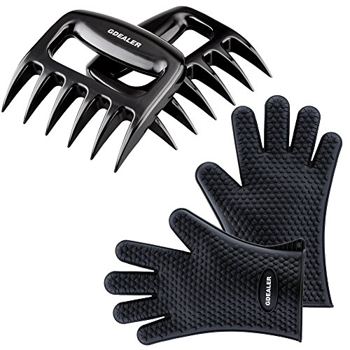 Gdealer Silicone Gloves - Meat Claws - Heat Resistant Grilling Oven Gloves Mitts Set Bbq Cooking Gloves With Meat