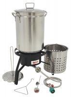 Bayou Classic Propane Turkey Fryer Kit - Burner And 32qt Stainless Steel Pot
