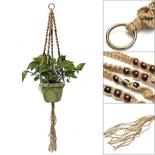 Pack of 2 plant support Indoor Outdoor Hanging Plant Pot Holder Macrame Jute Plant Hanger Flower Pot Basket 4 Leg 40 Inch