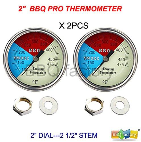 "2"" 475f (2-pack) Bbq Charcoal Grill Pit Wood Smoker Temp Gauge Thermometer 2.5"" Stem Ss Rwb"