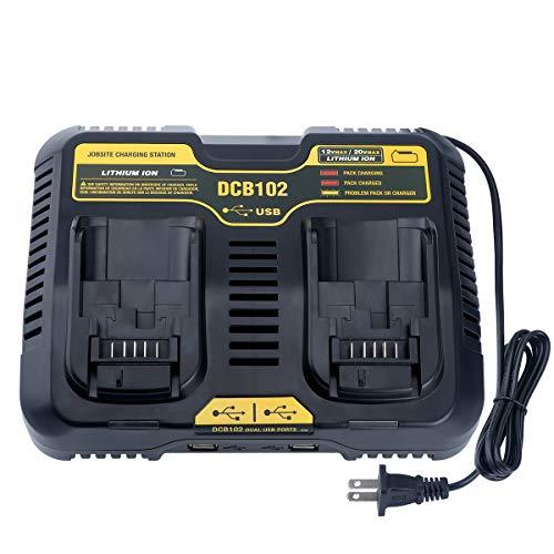 Lasica DCB102BP 20V Dual Port Charger for DEWALT 1220-Volt MAX Jobsite Charging Station DCB102 DCB104 DCB118 DCB115 DCB107 Dewalt 20V60V MAX Battery DCB205-2 DCB206-2 DCB204 DCB203 DCB606-2 DCB609-2