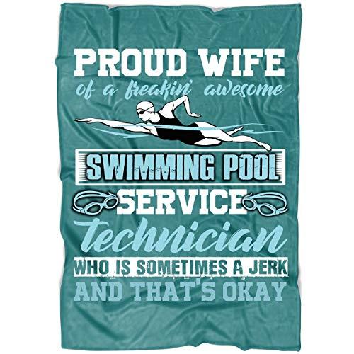 OAKSTORE Proud Wife Soft Fleece Throw Blanket Swimming Pool Service Technician Blanket for Bed and Couch Medium Fleece Blanket 60x50 - Green Pistachio