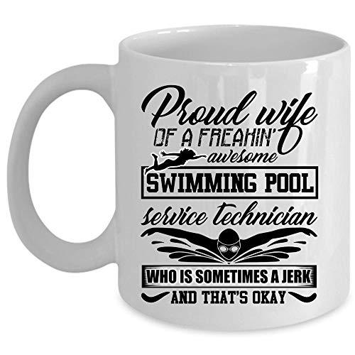 Swimming Pool Service Technicians Wife Coffee Mug Proud Wife Of A Swimming Pool Service Technician Cup for Coffee Ceramic Mug For Home Office Coffee Mug 11 Oz - WHITE