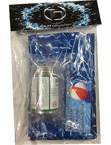 Large 4' X 2' Underwater Swimming Pool Vinyl Liner Repair Kit W/glue Blue Wave