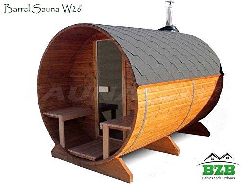 Bzbcabins.com Barrel Sauna Kit W26, 4 Person Outdoor Sauna With Harvia M3 Wood Burning Heater