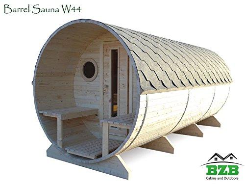 Bzbcabins.com Barrel Sauna Kit W44, 6 Person Outdoor Sauna With Harvia M3 Wood Burning Heater