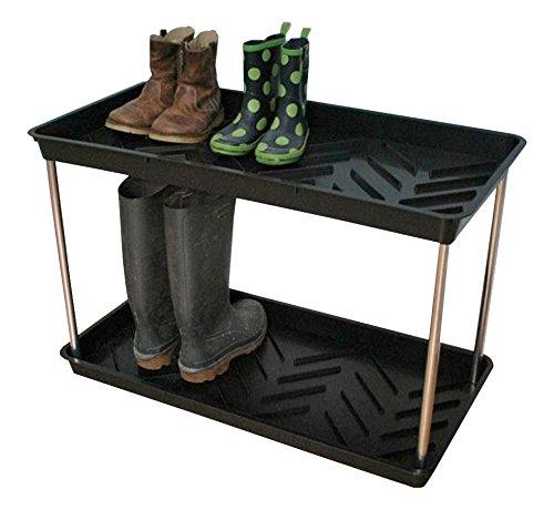 Tierra Garden Gp105b Black 2-tier Recycled Plastic Boot Tray